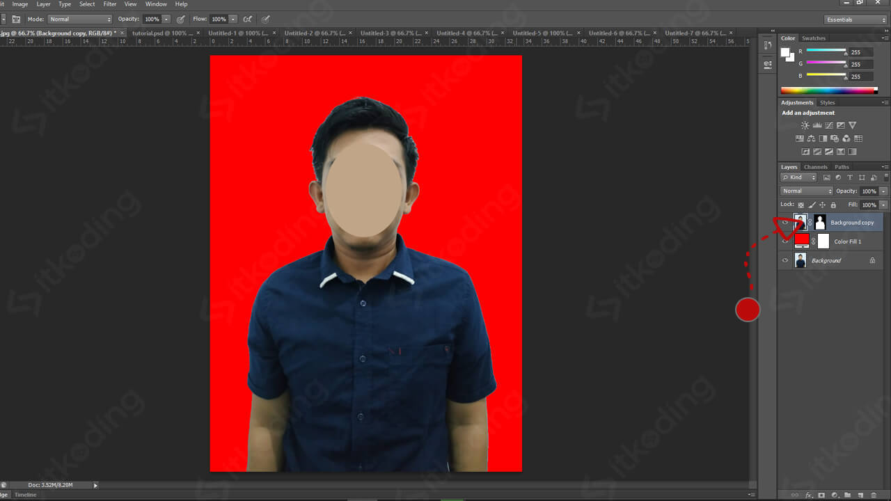Hasil mengganti background foto di photoshop