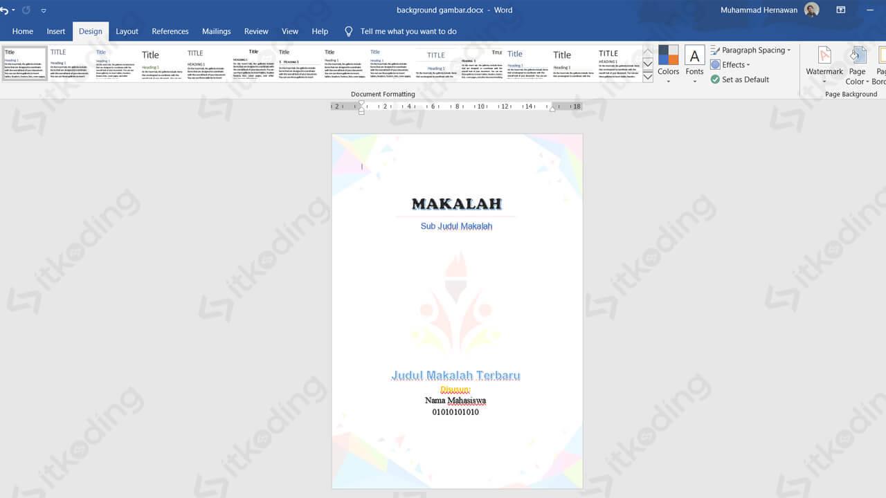 Hasil watermark gambar di word