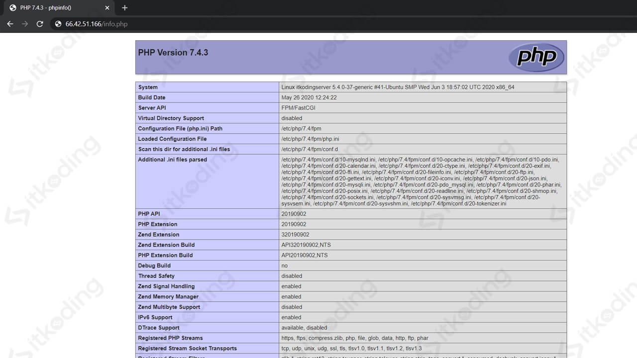 Informasi php7.4 server di browser