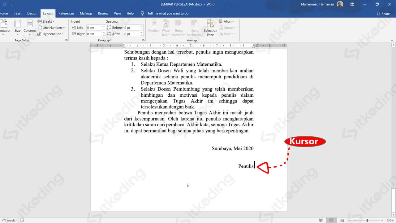 Kursor pada akhir dokumen