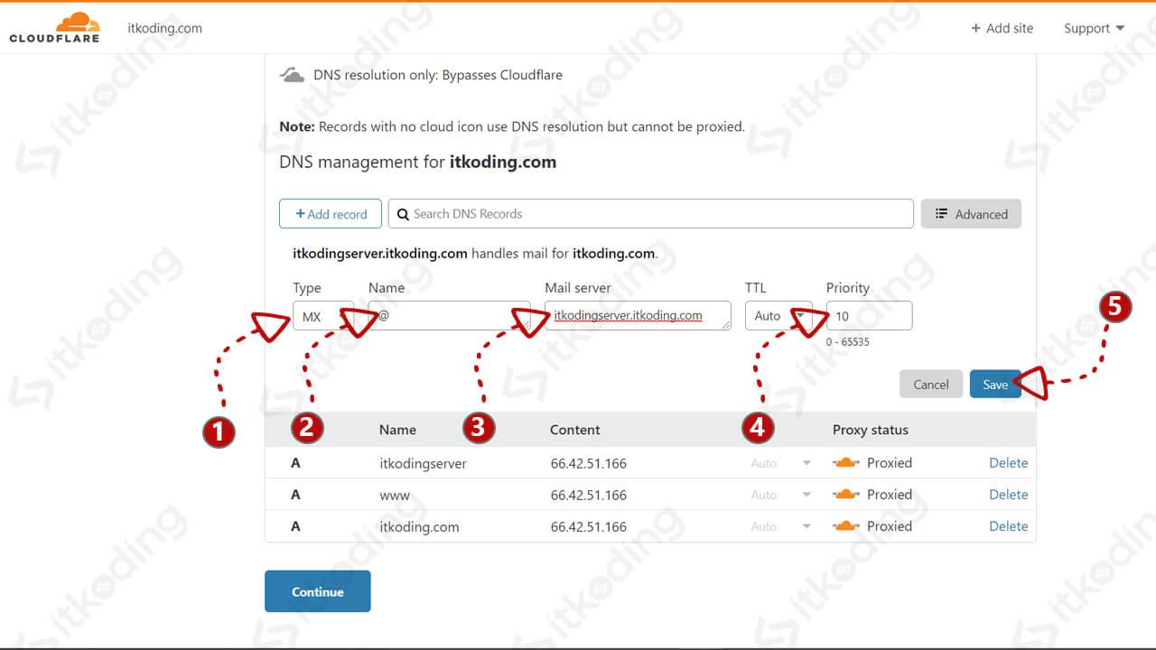Memasukkan mx record di dns cloudflare