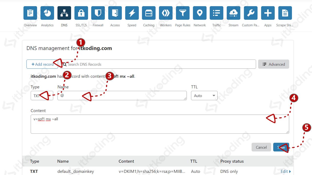 Membuat record spf pada dns cloudflare
