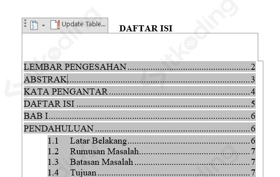 Memperbarui daftar isi di ms word