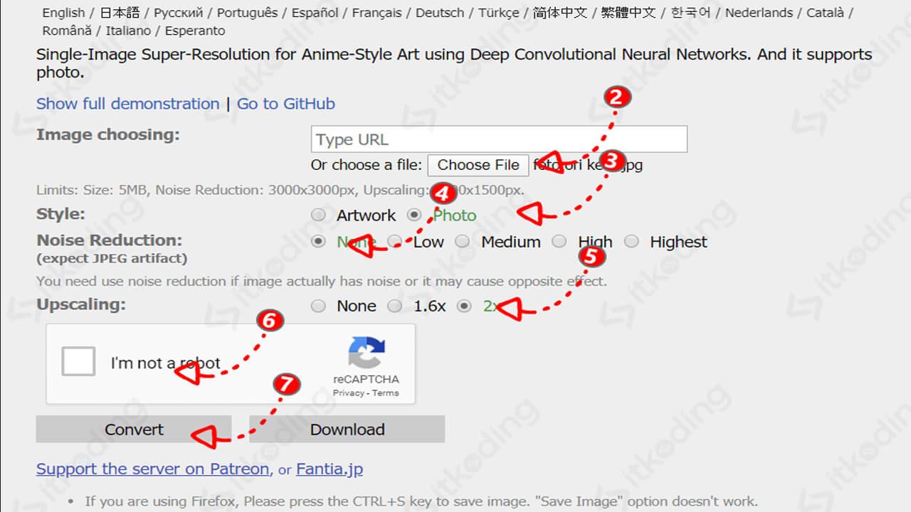 Memperbesar ukuran foto online di waifu2x