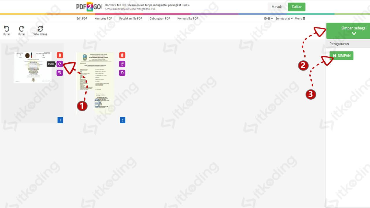 Memutar dan menyimpan hasil pdf di pdf2go