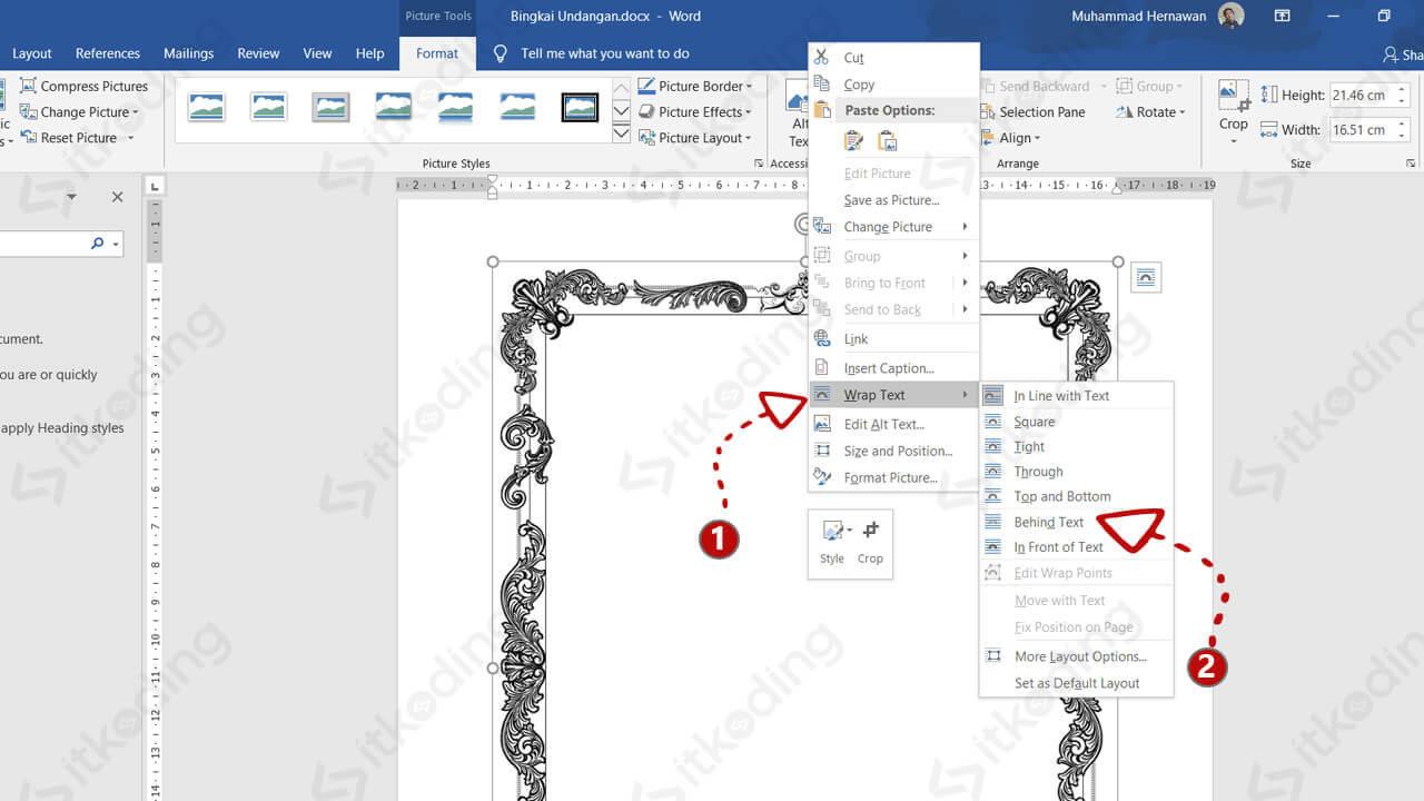 Mengatur posisi gambar di bawah teks