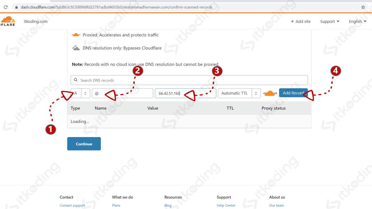 Menghubungkan domain ke server menggunakan dns cloudflare