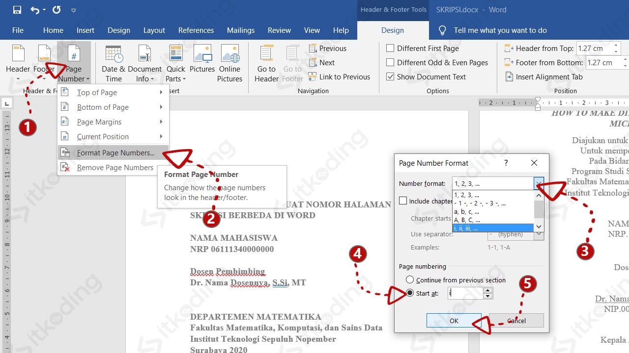 Mengubah jenis huruf pada nomor halaman