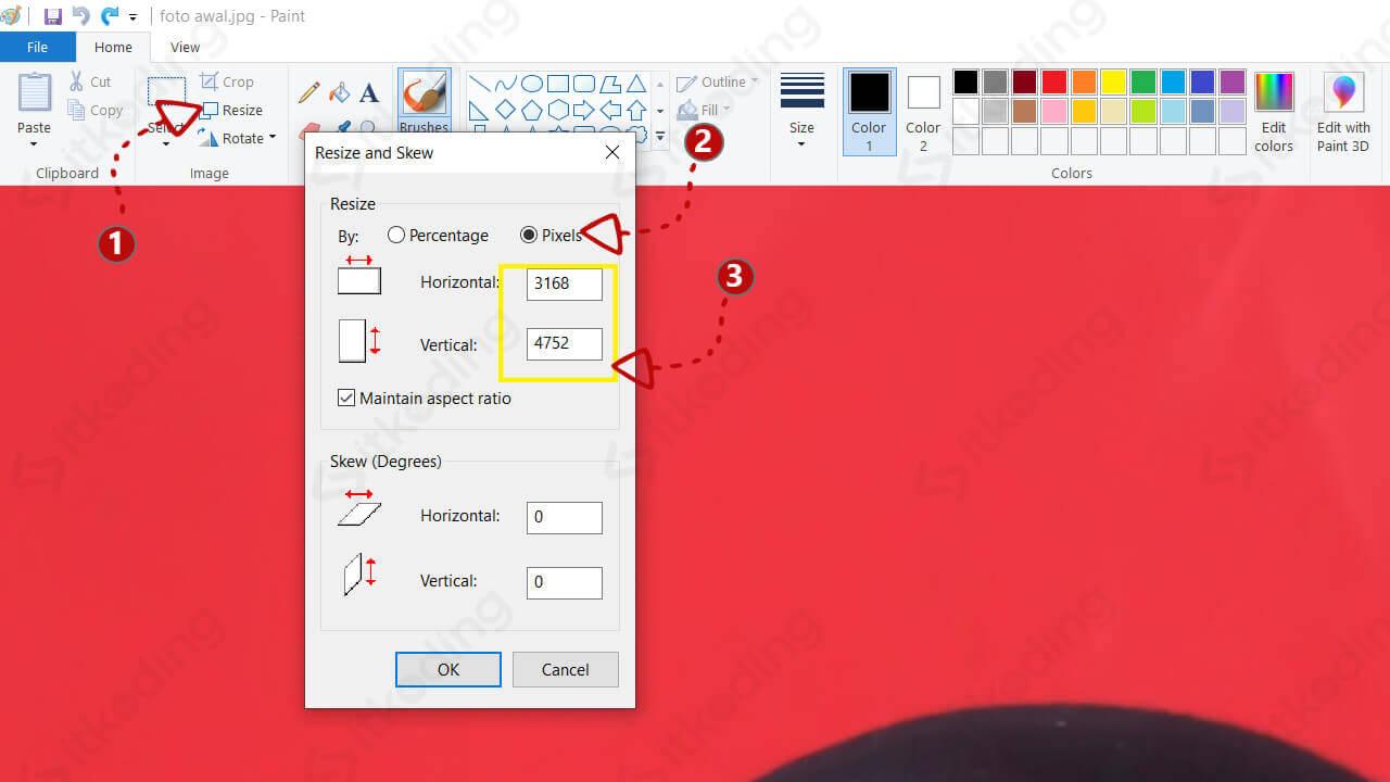 Mengubah ukuran pixel foto di paint
