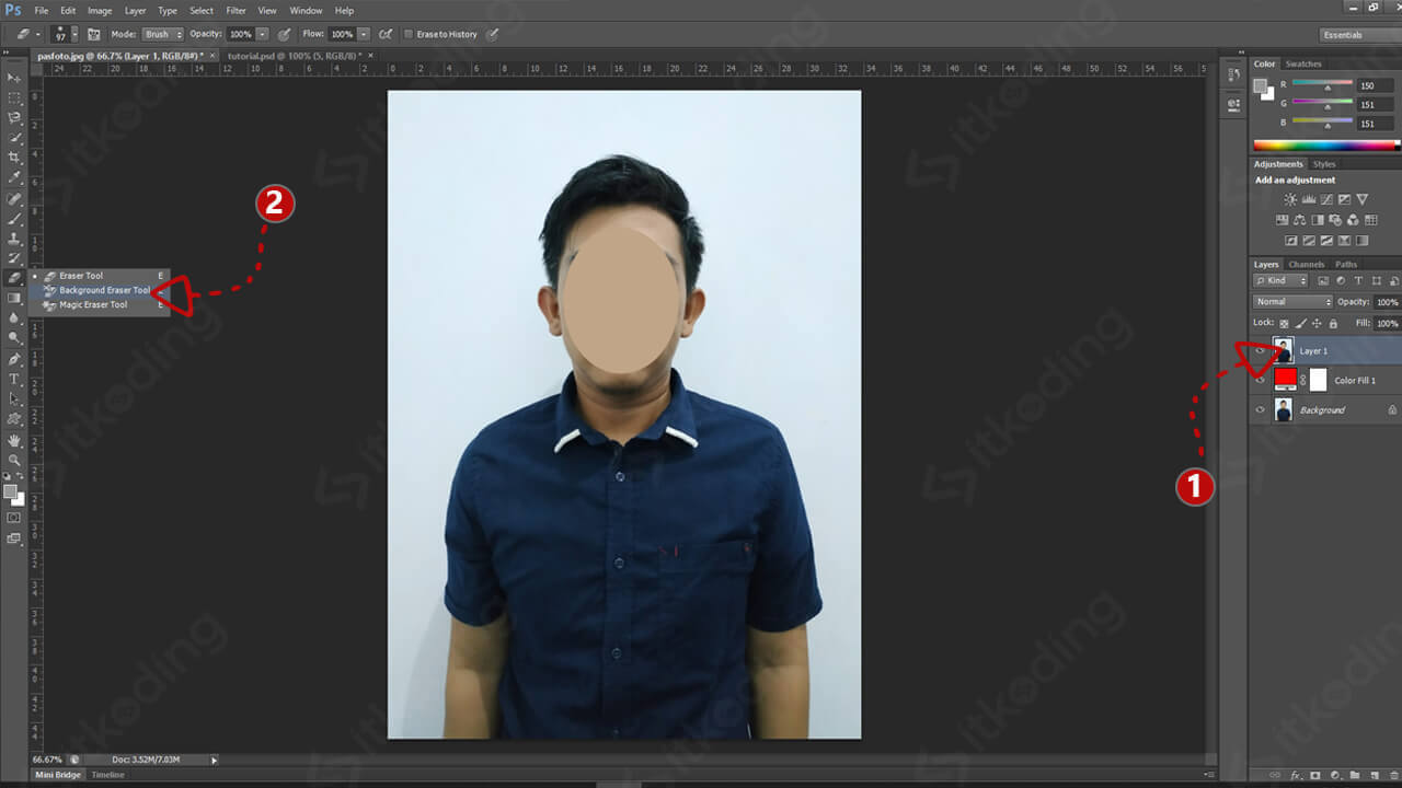 Menu background eraser tool pada photoshop