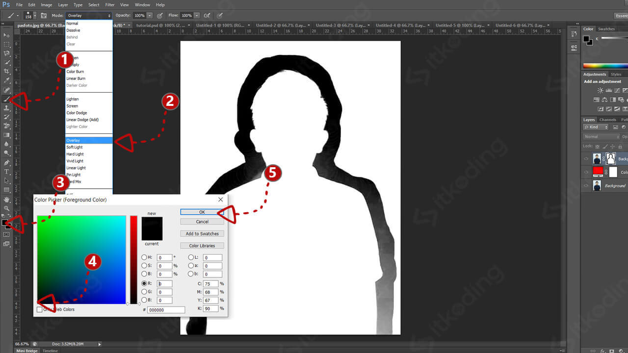Menu brush tool pada photoshop