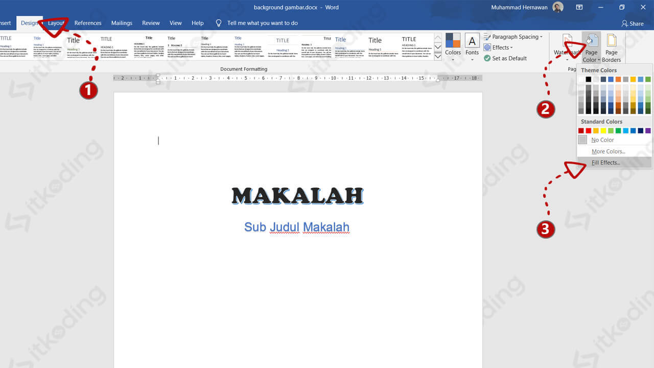 Menu fill effects pada background ms word