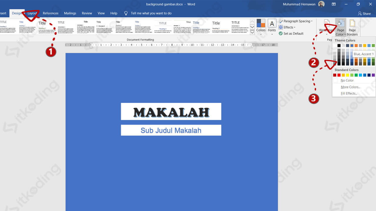 Menu page color pada ms word