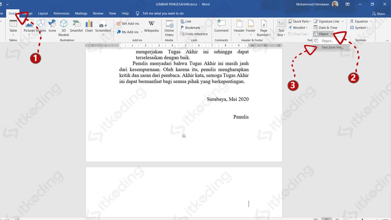 Opsi insert object untuk menggabungkan file word