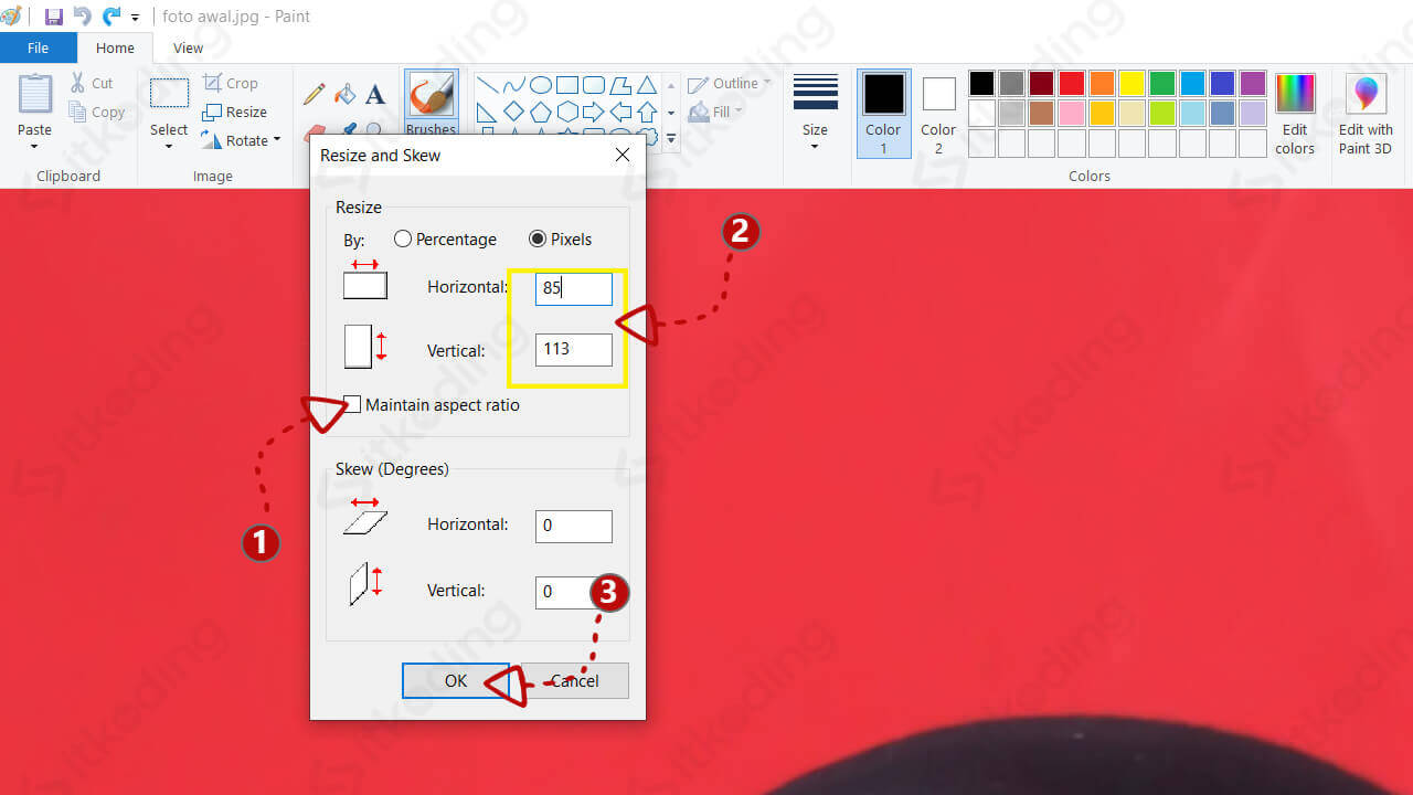 Opsi maintain aspect ratio pada paint