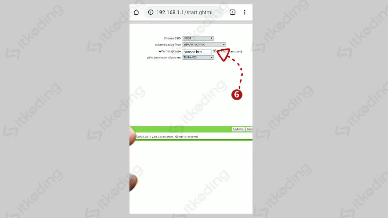 Password wifi pada halaman admin wifi