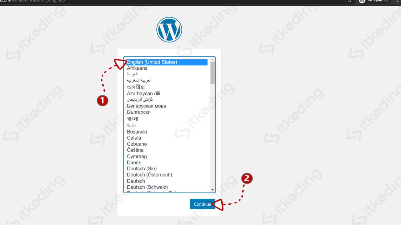 Pemilihan bahasa pada wordpress