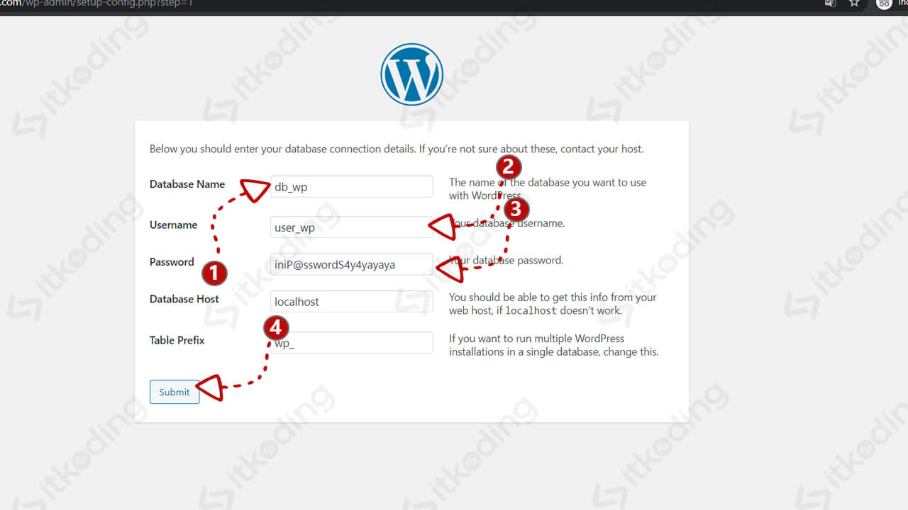 Pengaturan database saat install wordpress