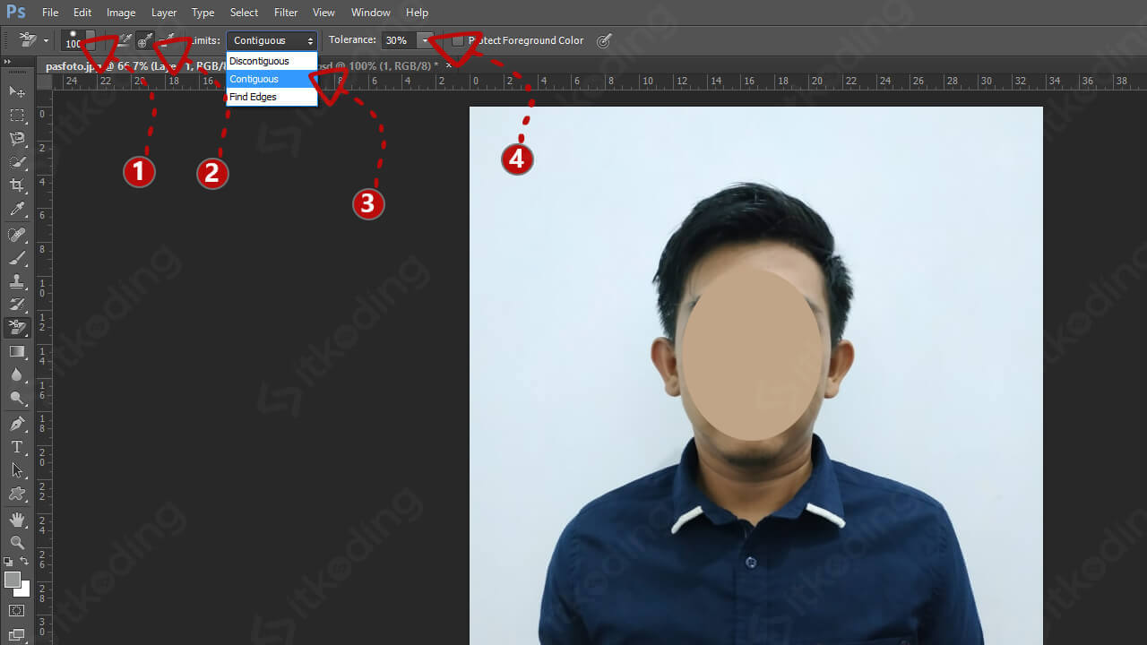Pengaturan sampling dan limit pada background eraser
