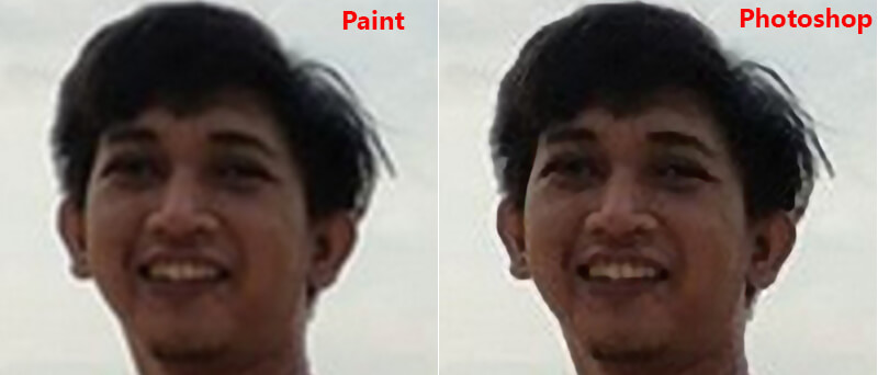 Perbedaan hasil memperbesar foto di paint dan photoshop