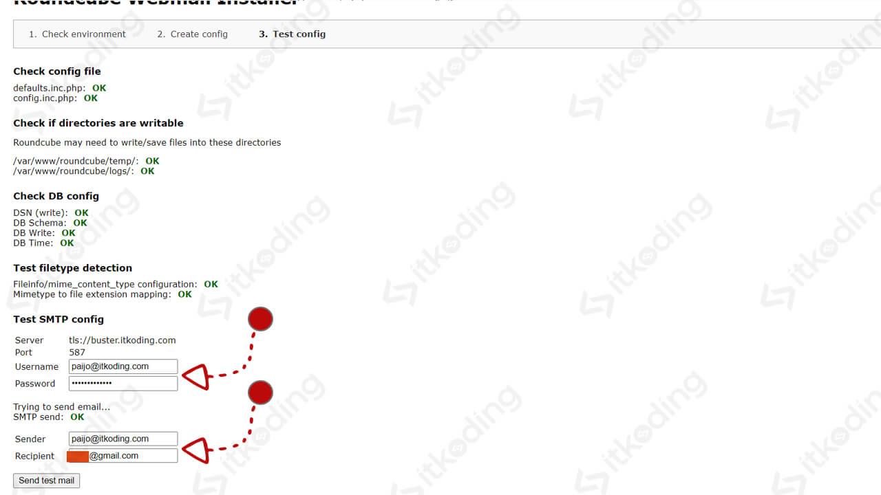 Percobaan kirim email saat instalasi roundcube