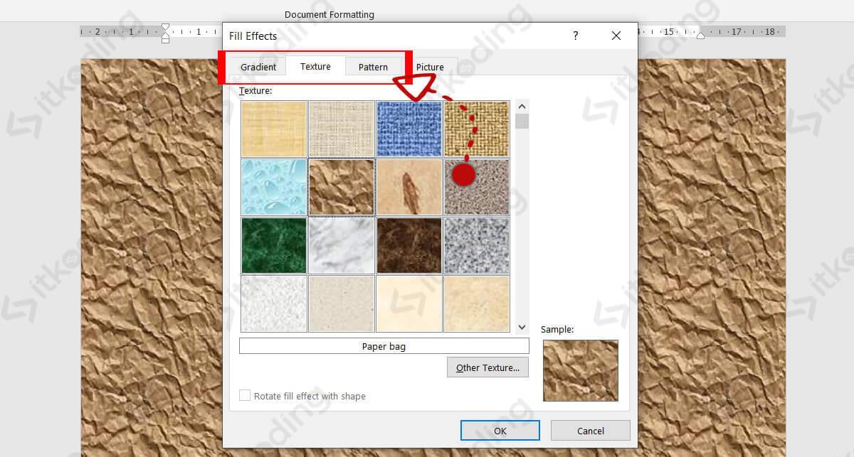 Pilihan background tekstur di word