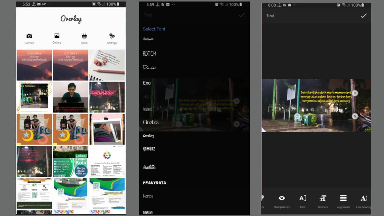 Pilihan teks pada overlay android