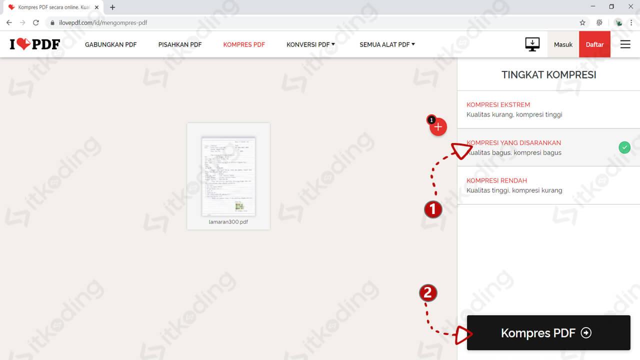 Tampilan menu kompres pdf pada ilovepdf