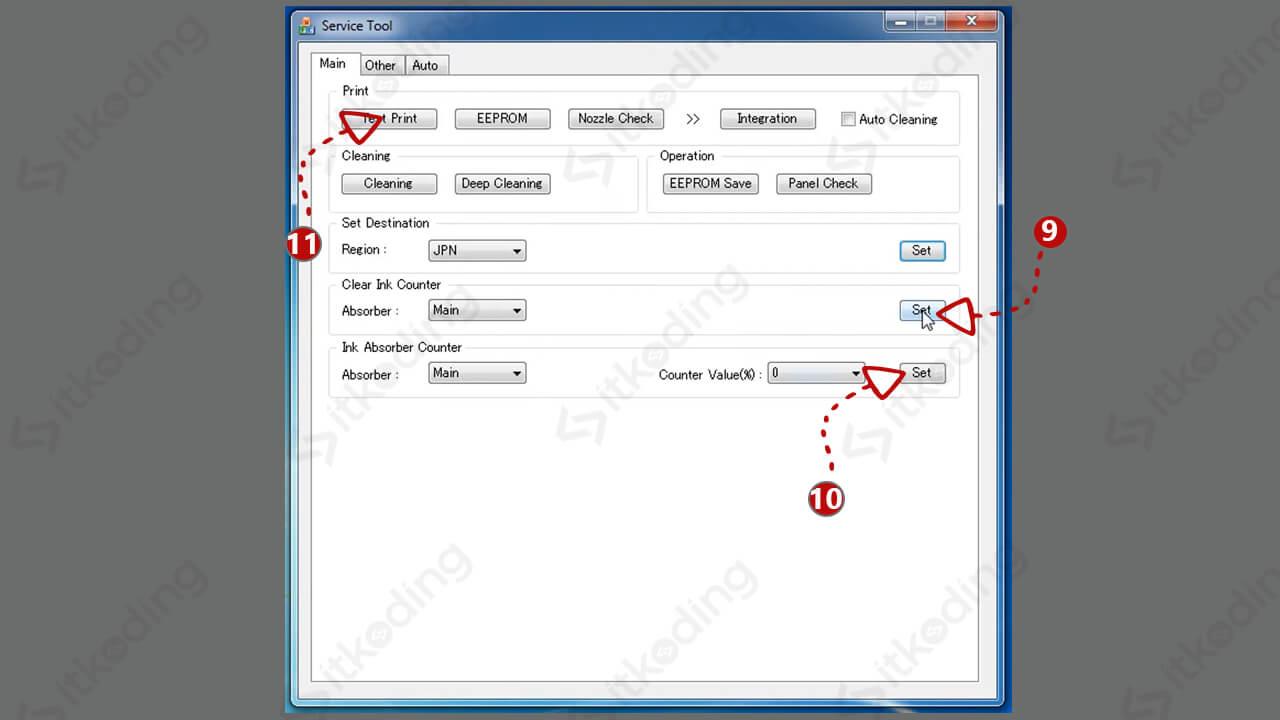 Tampilan software canon service tool v3400