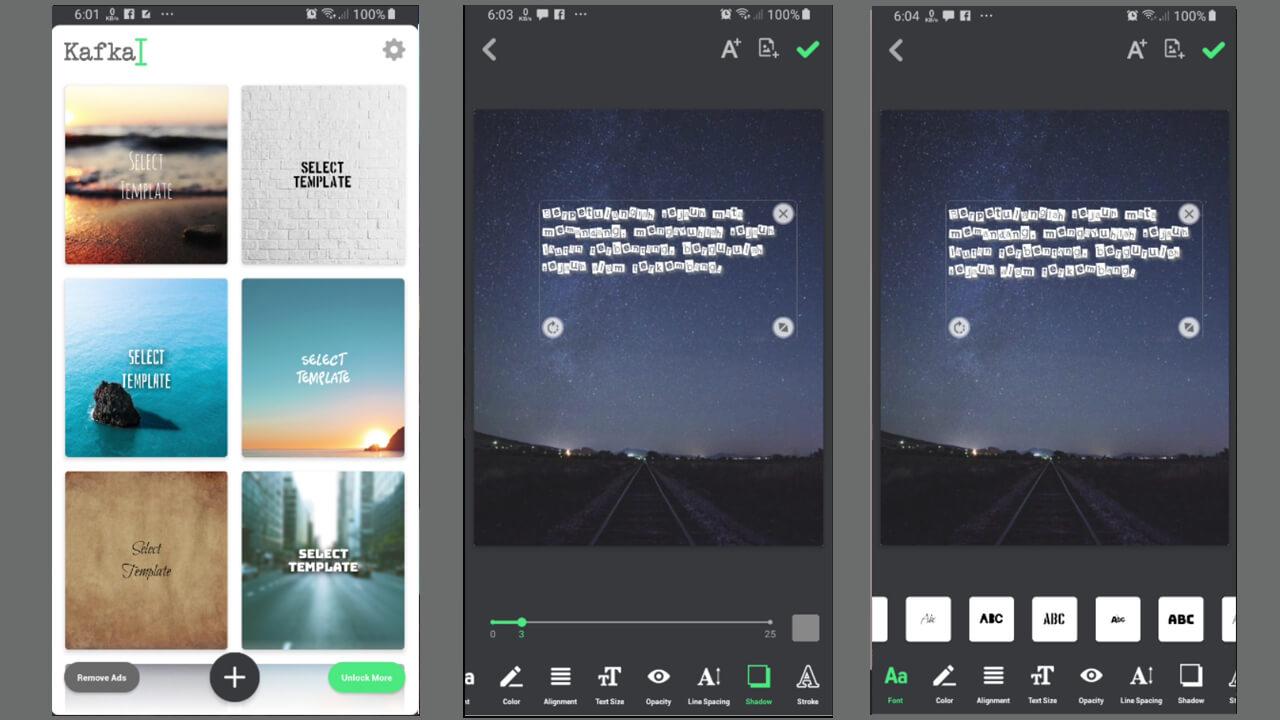 Template pada aplikasi kafka android