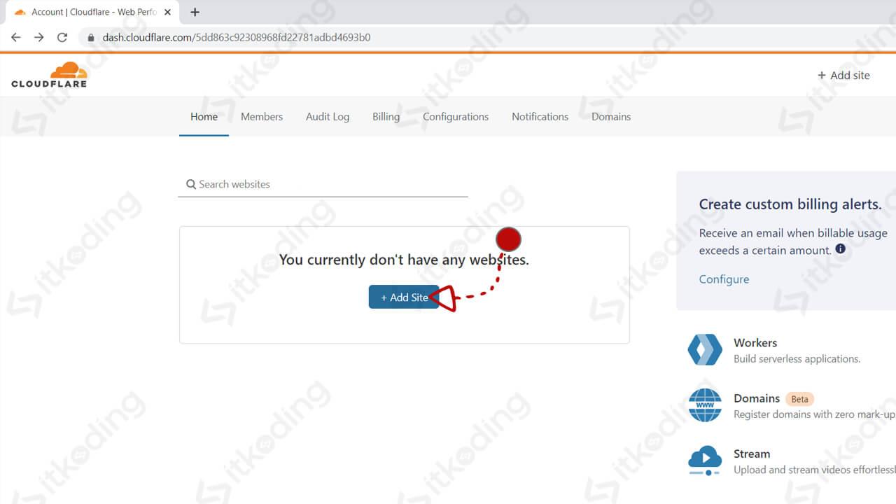 Tombol tambah domain pada cloudflare