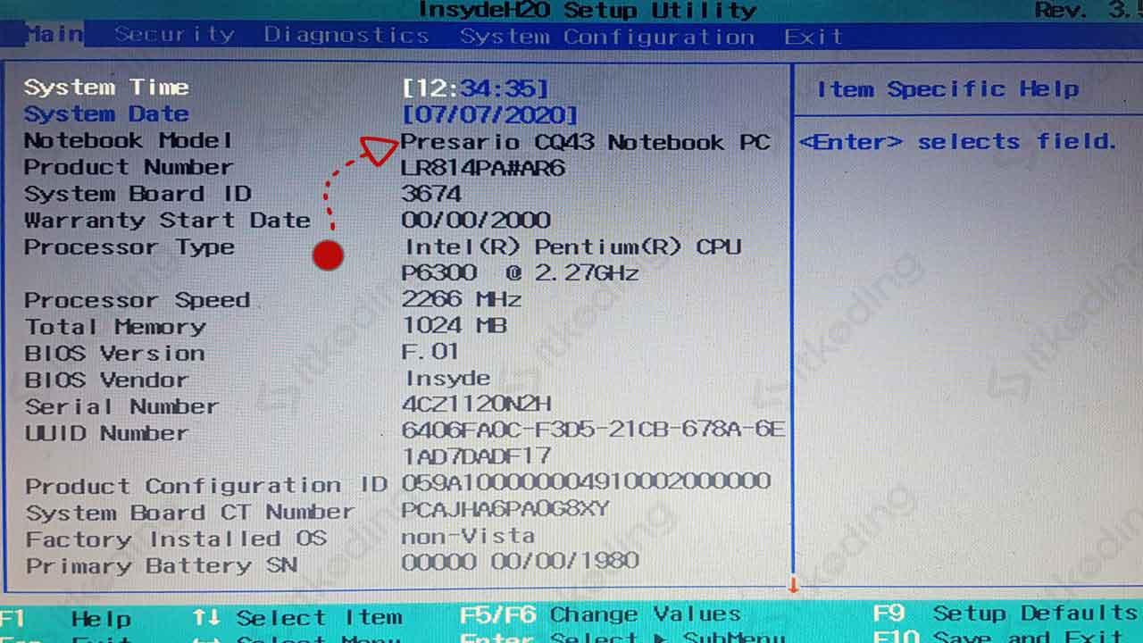 Cek tipe laptop di bios