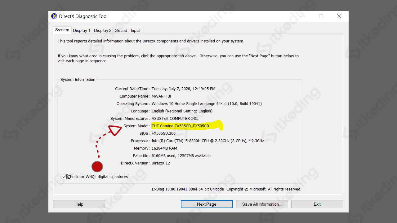 Informasi tipe laptop di dxdiag