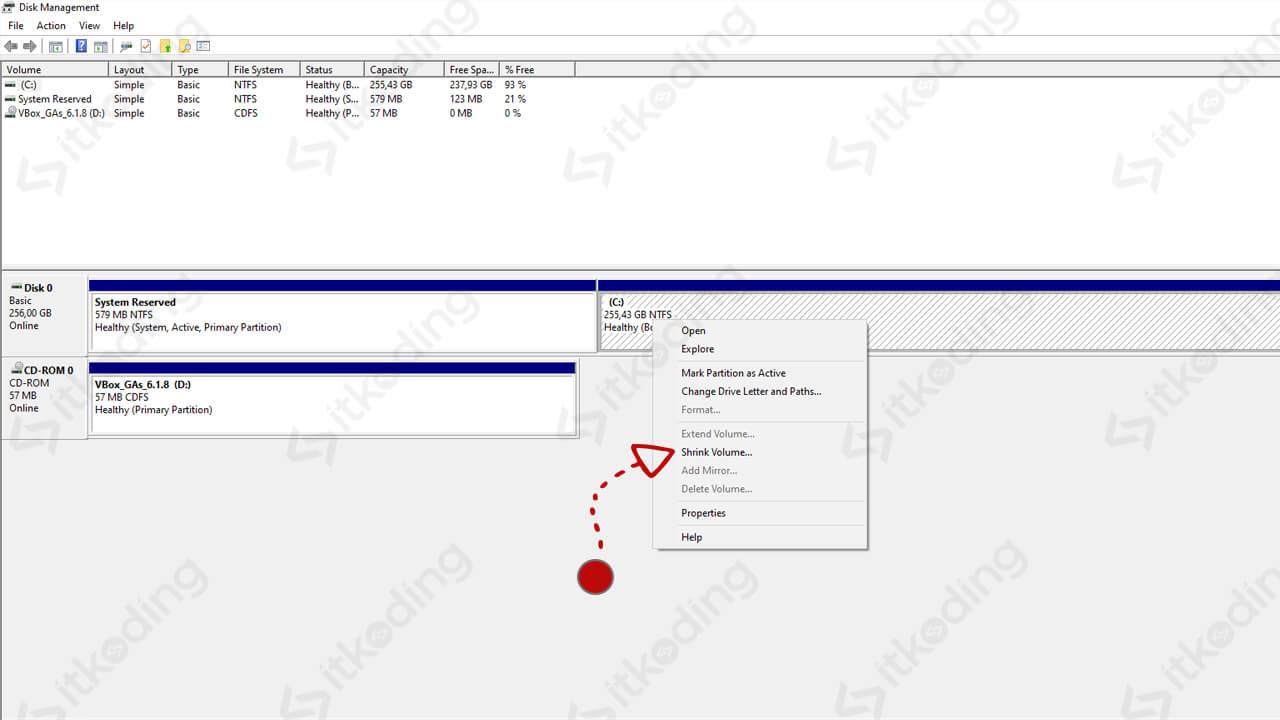 Membagi partisi windows 10 dengan disk management