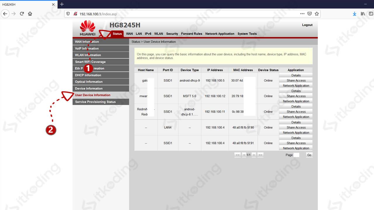 Menu status informasi pengguna wifi di huawei hg8245h
