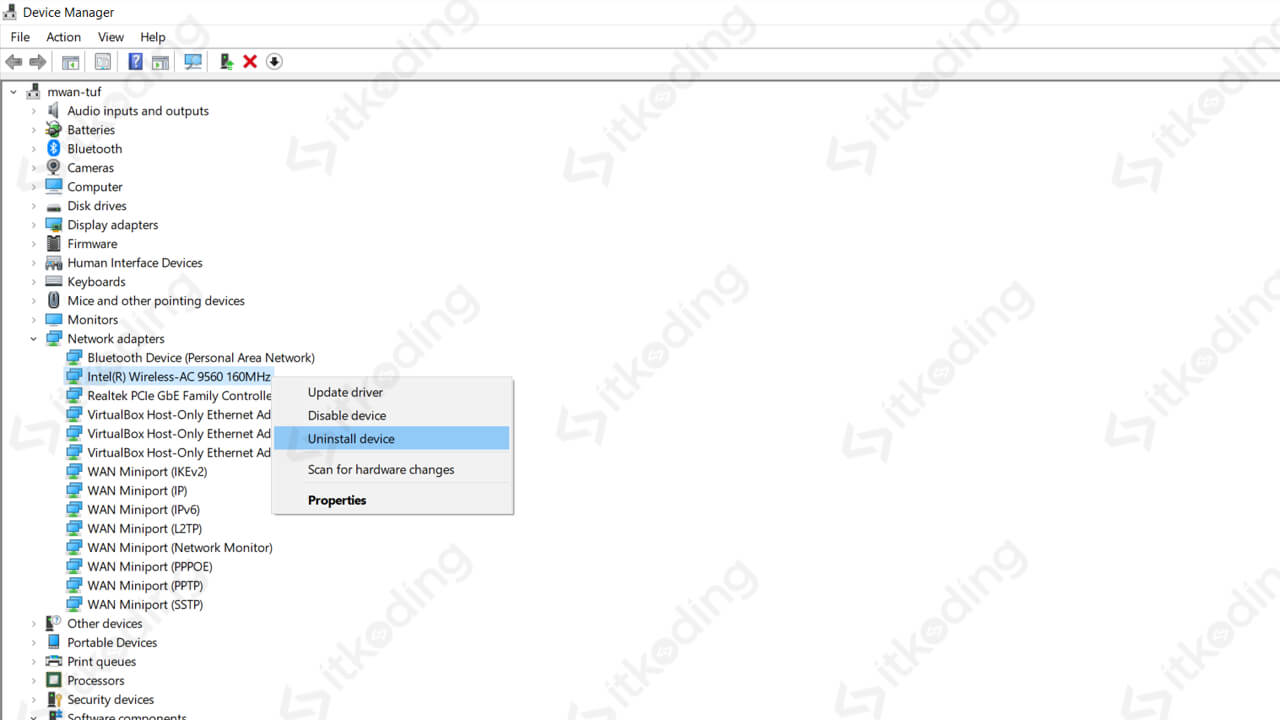 Opsi klik kanan pada adapter wifi