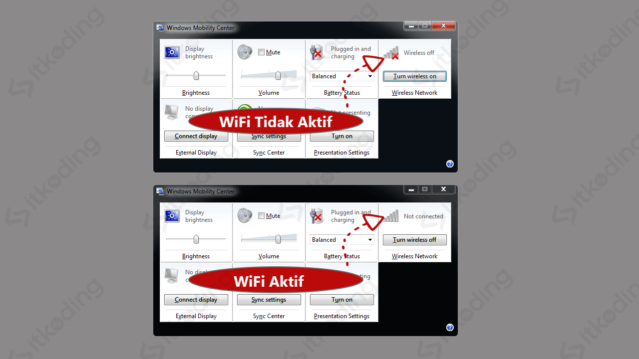 Opsi wireless network pada windows mobility