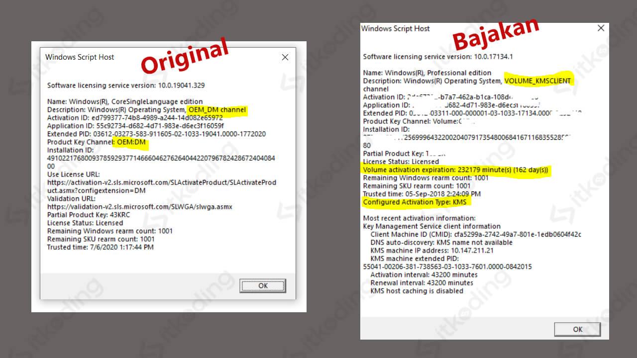 Perbedaan antara windows 10 asli dan bajakan