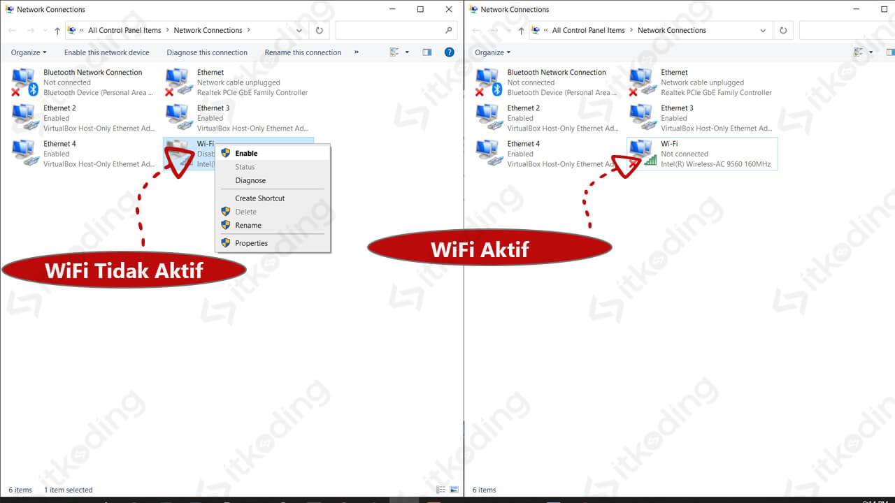 Perbedaan perangkat wifi enable dan disable