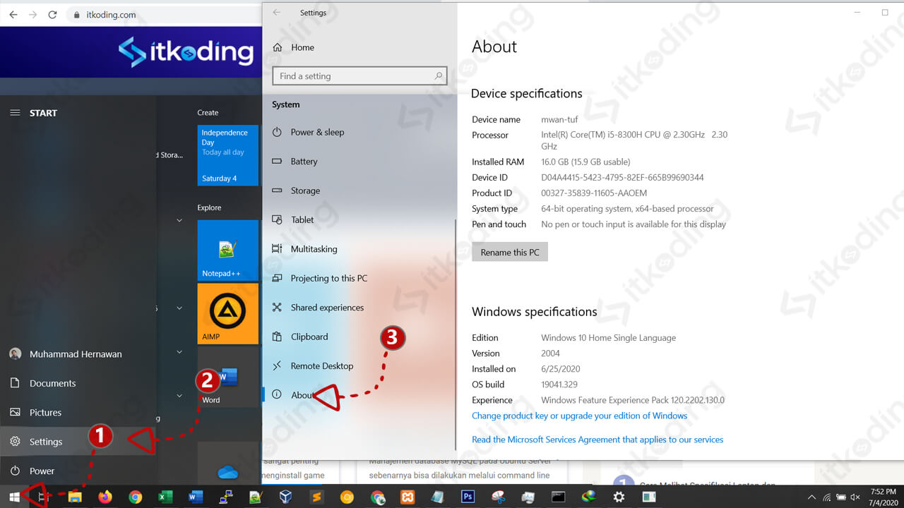 Spesifikasi windows pada menu settings windows 10