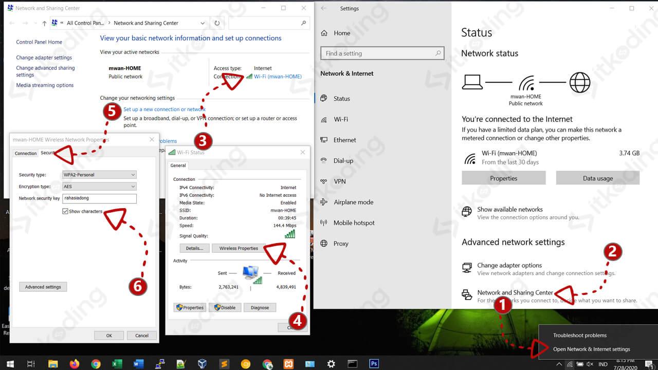 Tahapan untuk melihat password wifi di windows 10