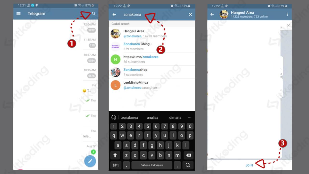Langkah mencari grup di telegram