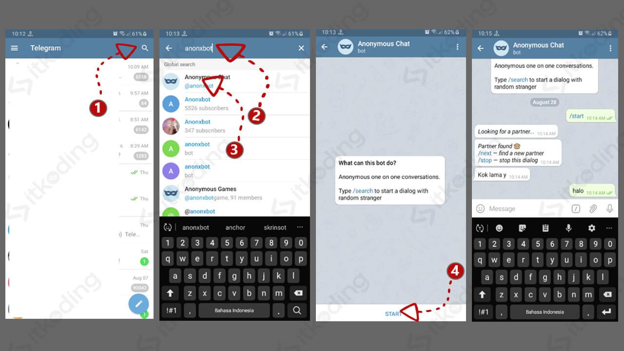 Langkah menggunakan bot anonymous chat telegram