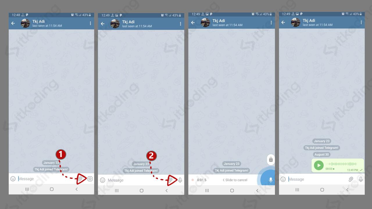 Langkah mengirim voice note di Telegram