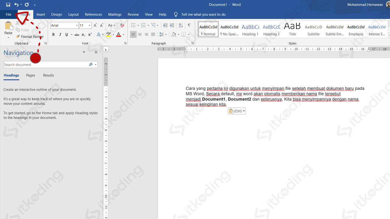 Menu file pada ms word