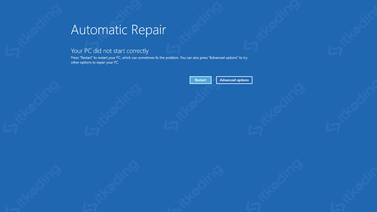 Opsi automatic repair pada windows 10