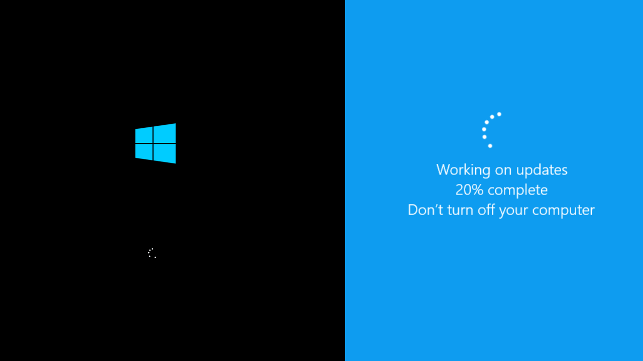 Tampilan loading windows 10 masuk desktop