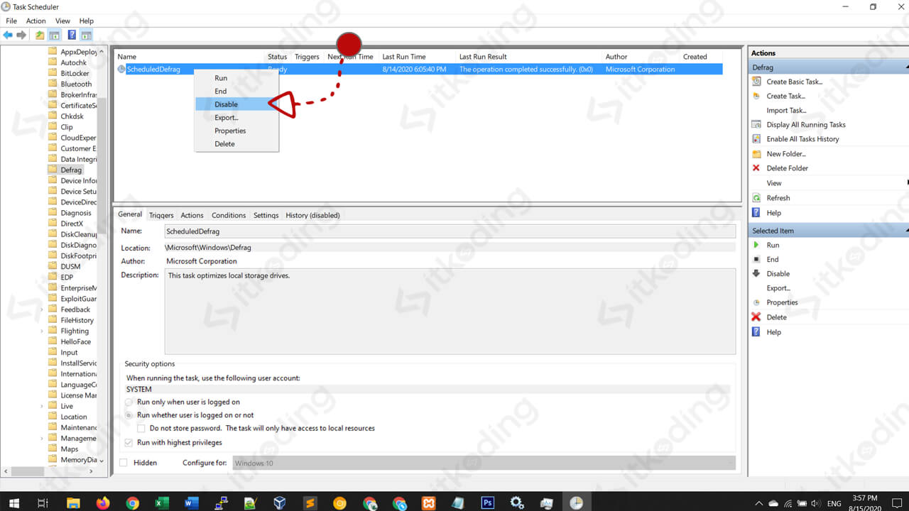Tampilan task scheduler windows 10
