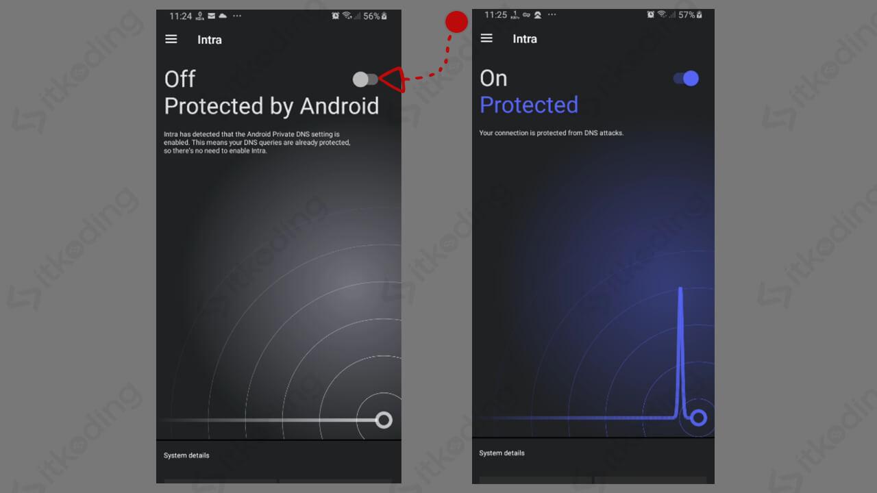 Tombol untuk aktivasi aplikasi intra di android