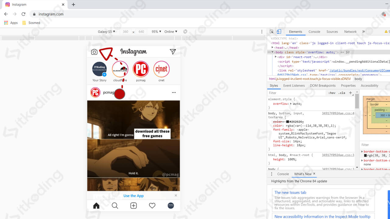 Tombol upload foto story di instagram pc